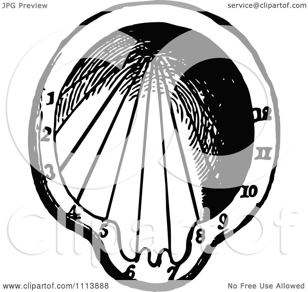 Sundial Clipart Vintage Black And
