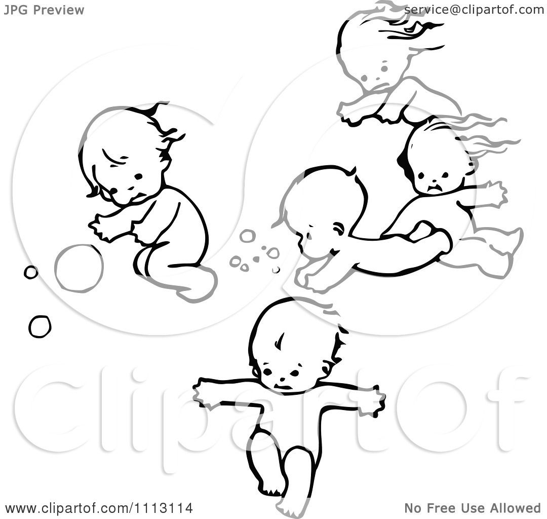 Clipart Vintage Black And White Swimming Babies - Royalty Free ...