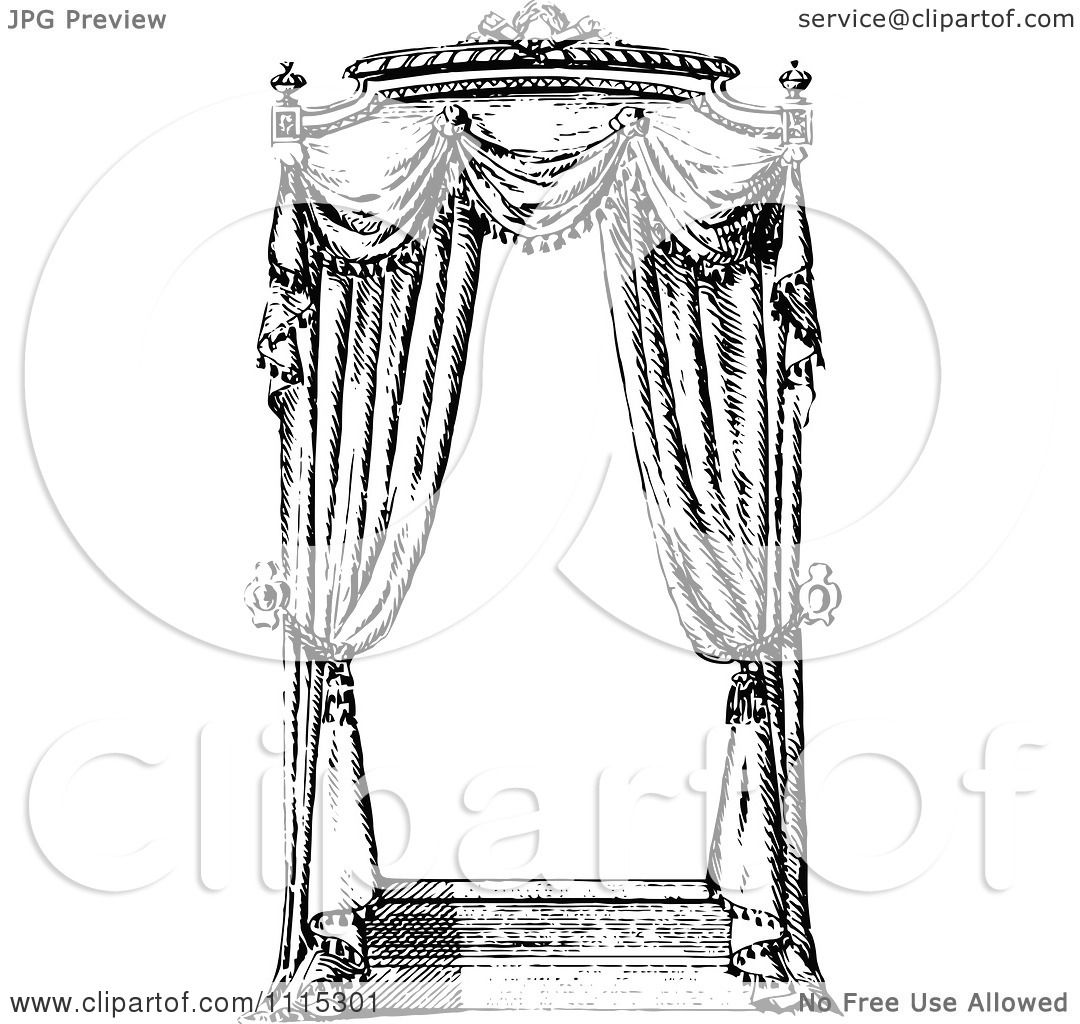 Clipart Vintage Black And White Window With Curtains 1 - Royalty ... for Window Clipart Black And White  575lpg