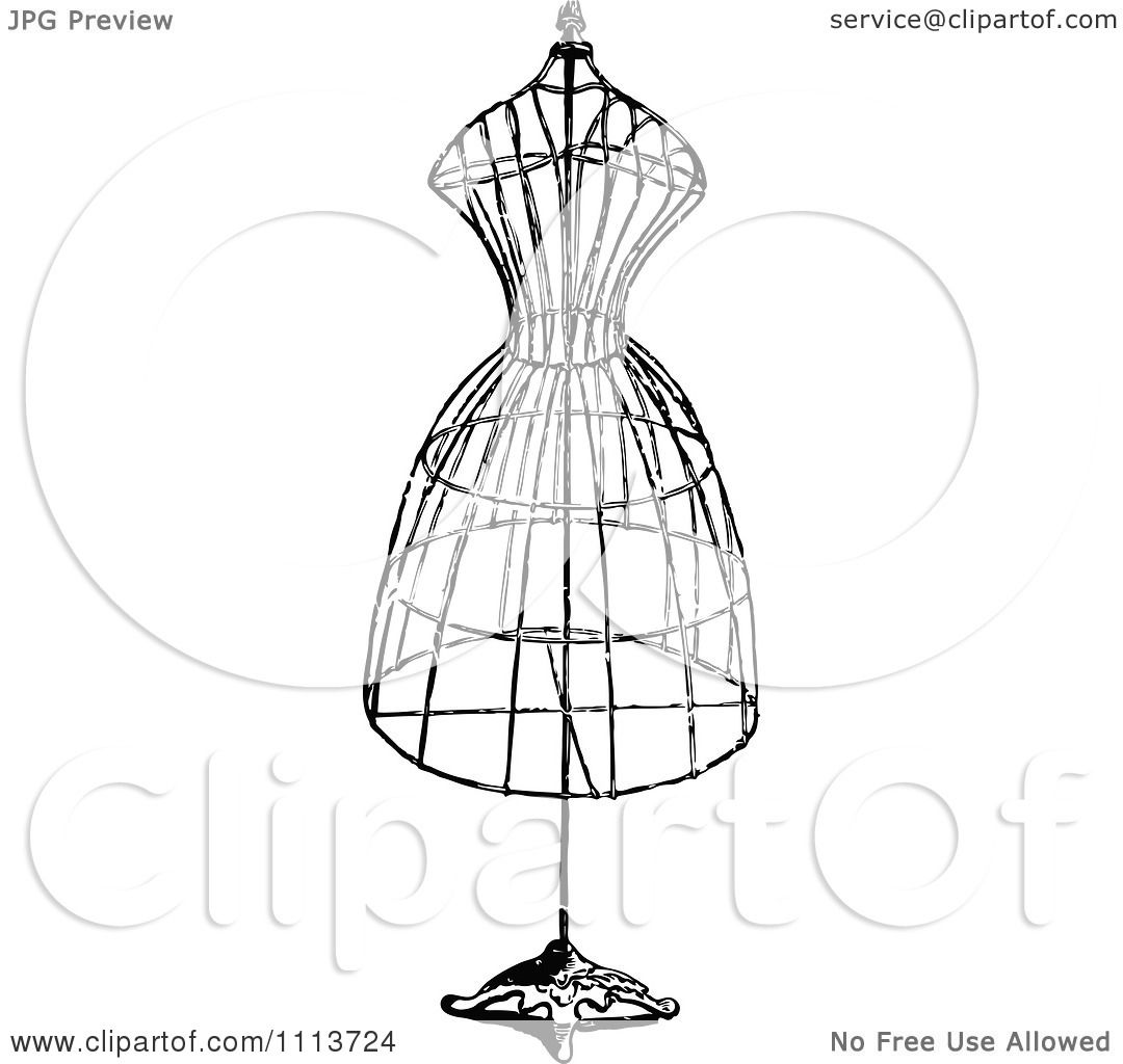 clipart vintage black and white wire dressmaker frame