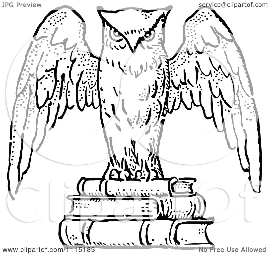 Wise Owl Clip Art Black And White Black And White Wise Owl
