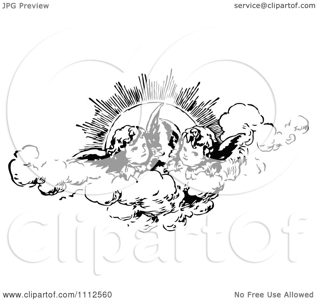 Clipart Vintage Cherubs In The Clouds Against The Sun