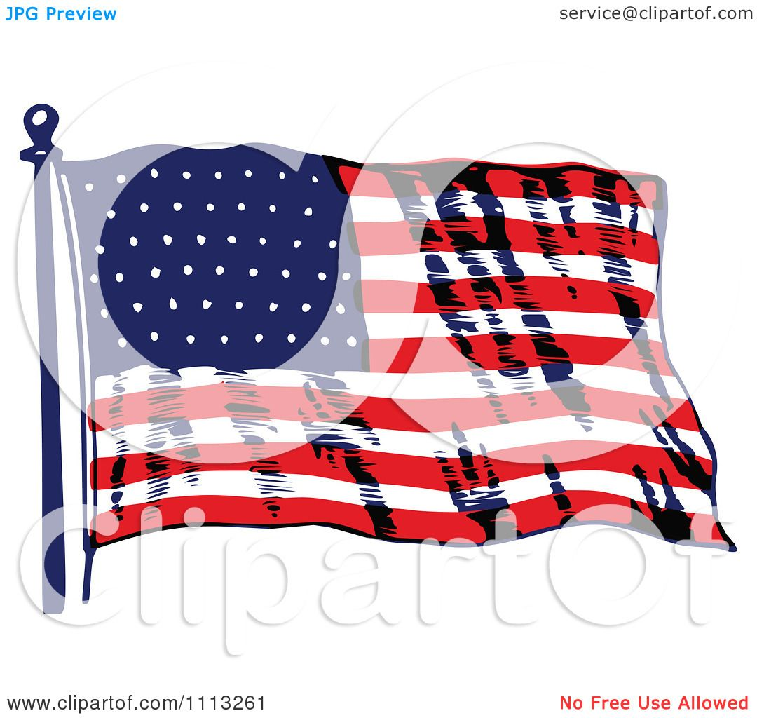 Clipart Vintage Waving American Flag