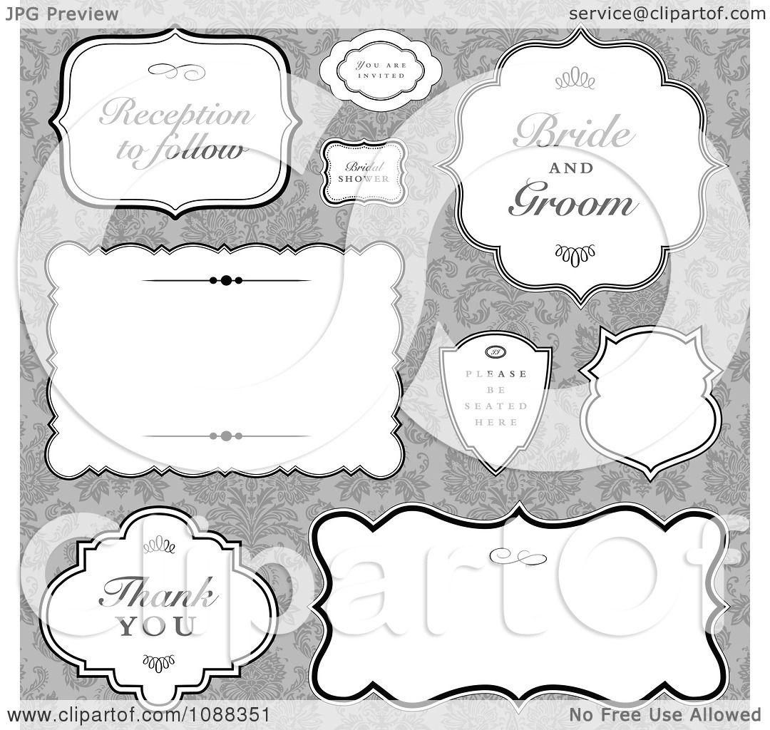 Clipart vintage wedding label frames over gray damask royalty clipart vintage wedding label frames over gray damask royalty free vector illustration by bestvector jeuxipadfo Gallery