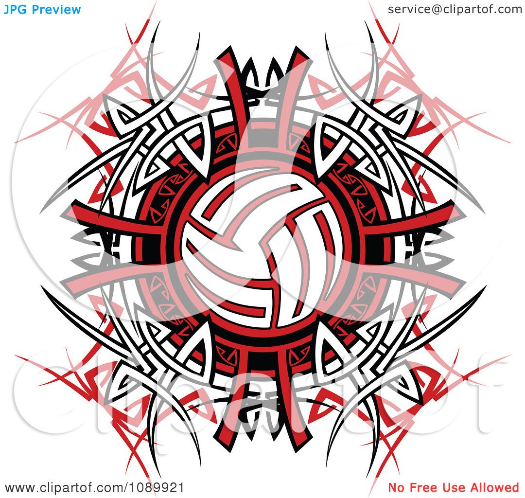 Vector Illustration Web Designs: Clipart Volleyball Over Tribal Designs