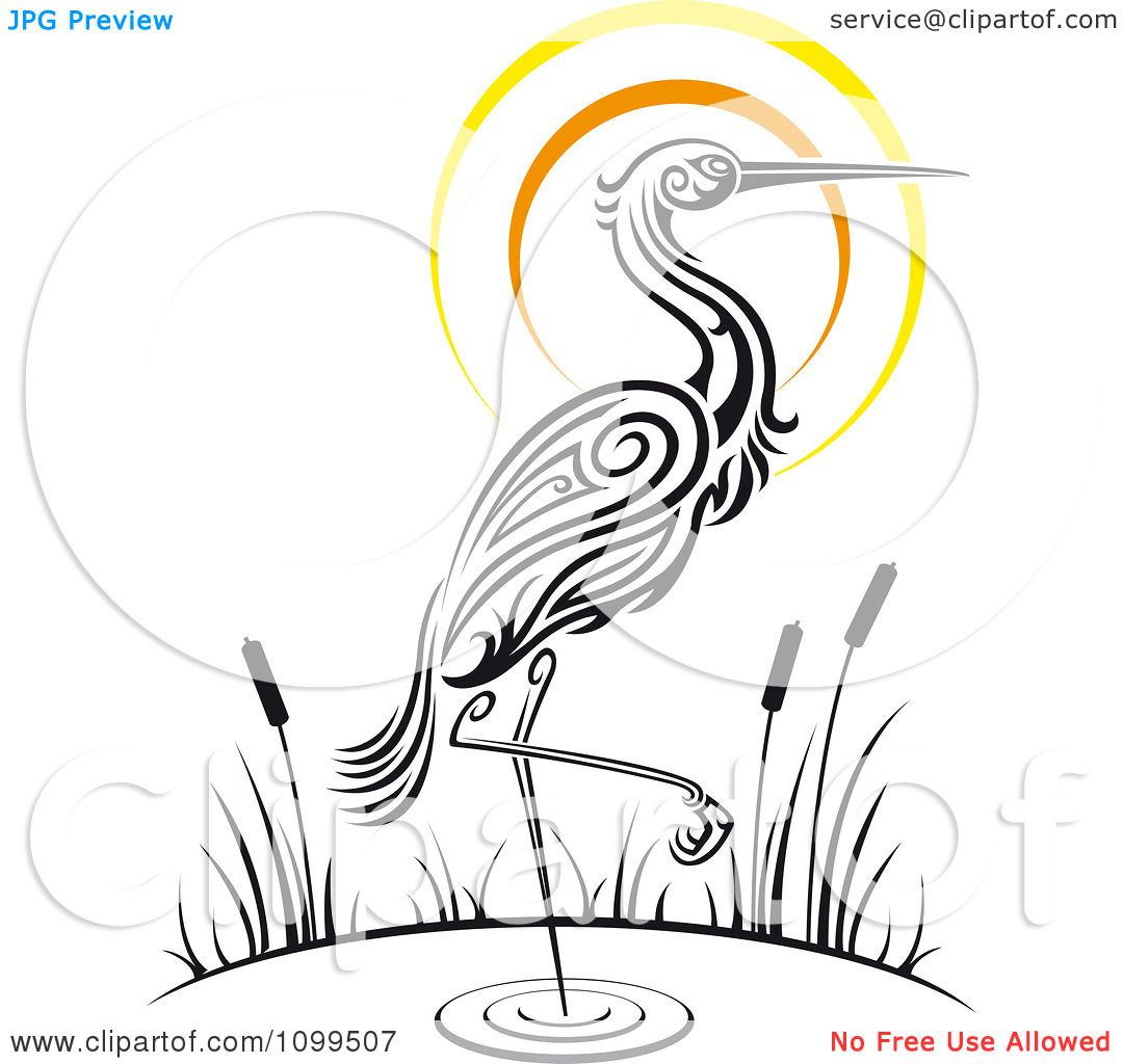 Clipart Wading Tribal Crane And Sunset - Royalty Free Vector ...