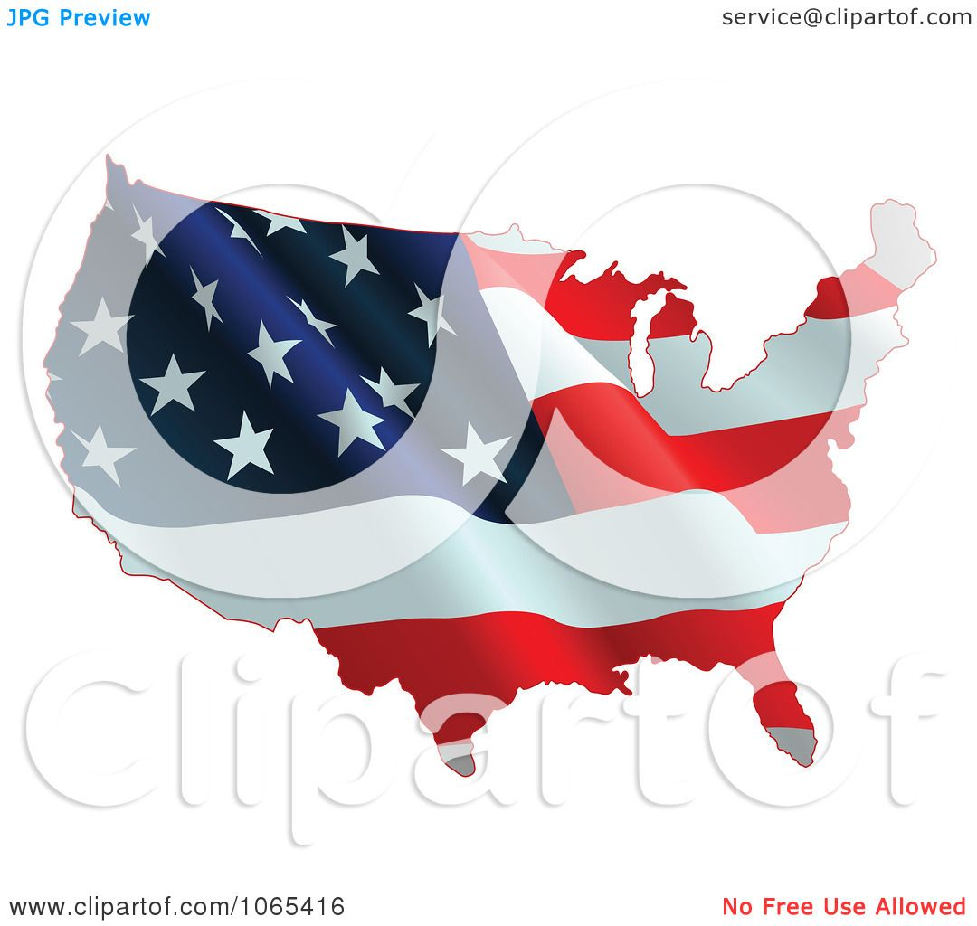 Clipart Waving American Flag Map Royalty Free Vector - Us map american flag