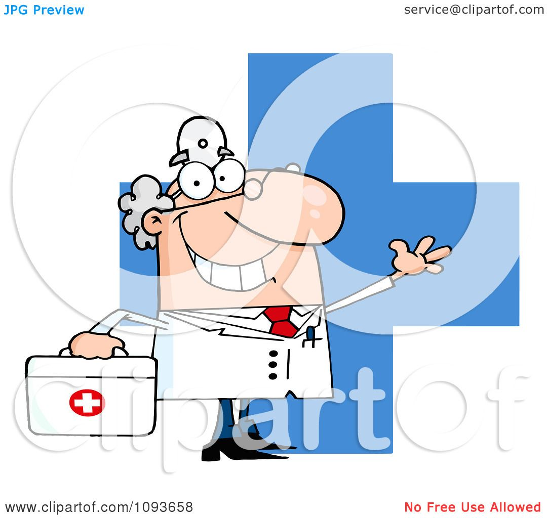 Clipart Waving Caucasian Male Doctor Over A Cross With A First Aid ...