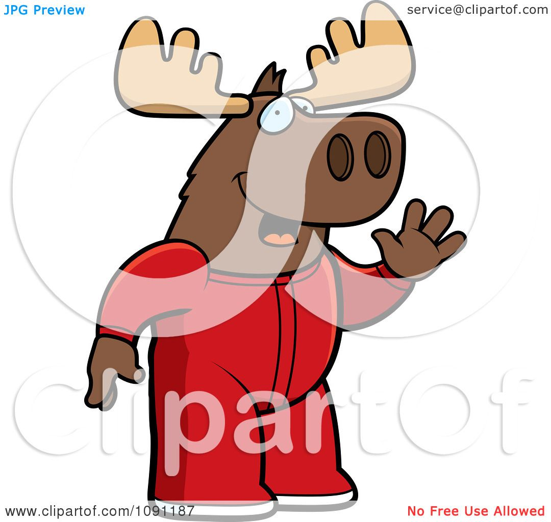 Baby Boy Moose Clipart Clipart Waving Moose In Footie