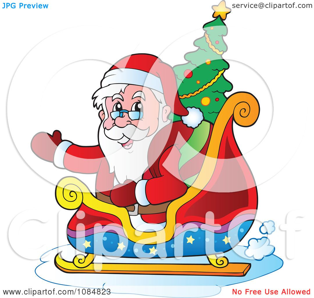 Clipart Waving Santa In His Sleigh With A Christmas Tree ...