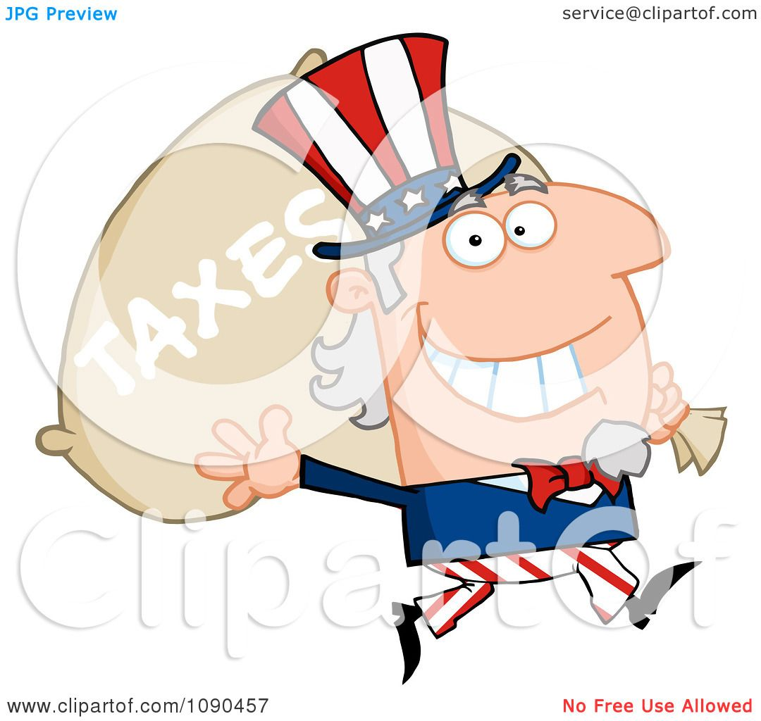 Clipart Waving Uncle Sam Carrying A Taxes Sack - Royalty ...