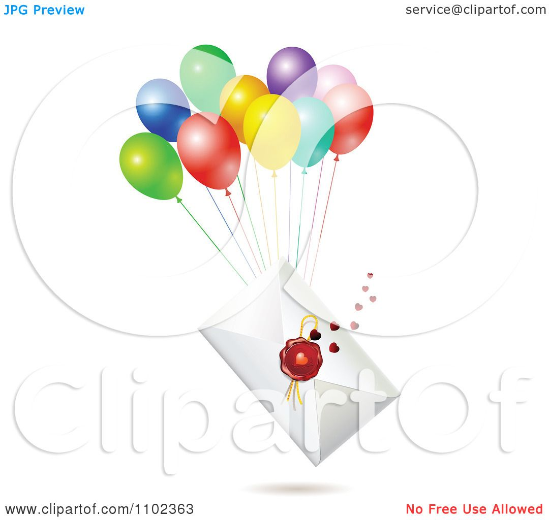 clipart wax sealed envelope with balloons royalty free vector illustration by merlinul 1102363 Manila Envelope Clip Art Letter Envelope Clip Art