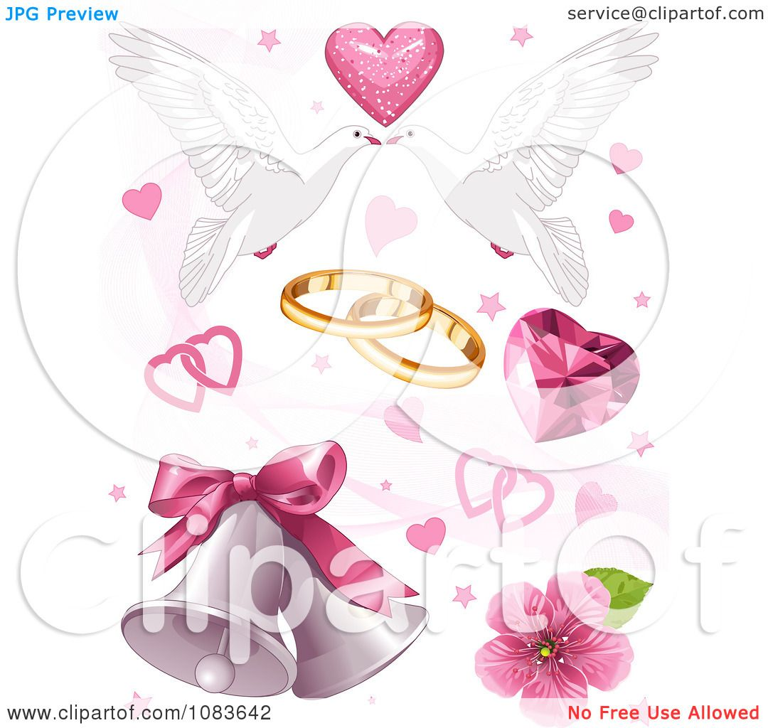 Clipart Wedding Doves Hearts And Bells - Royalty Free Vector ...
