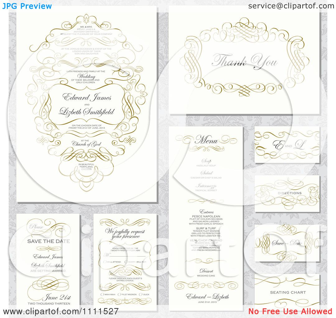 Clipart Wedding Invitation Designs With Sample Text And Gold ...