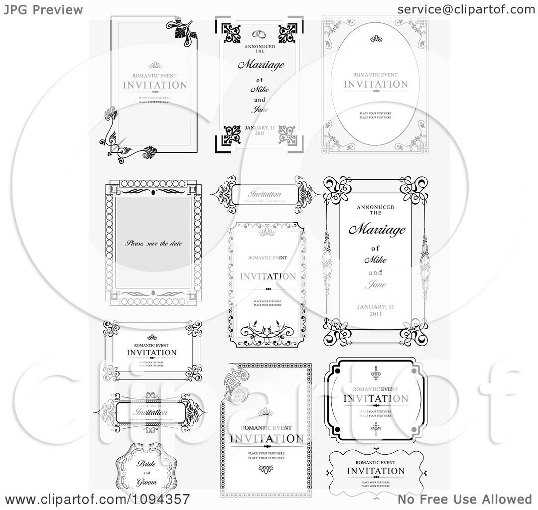Clipart Wedding Invitations And Frames 1 - Royalty Free Vector ...