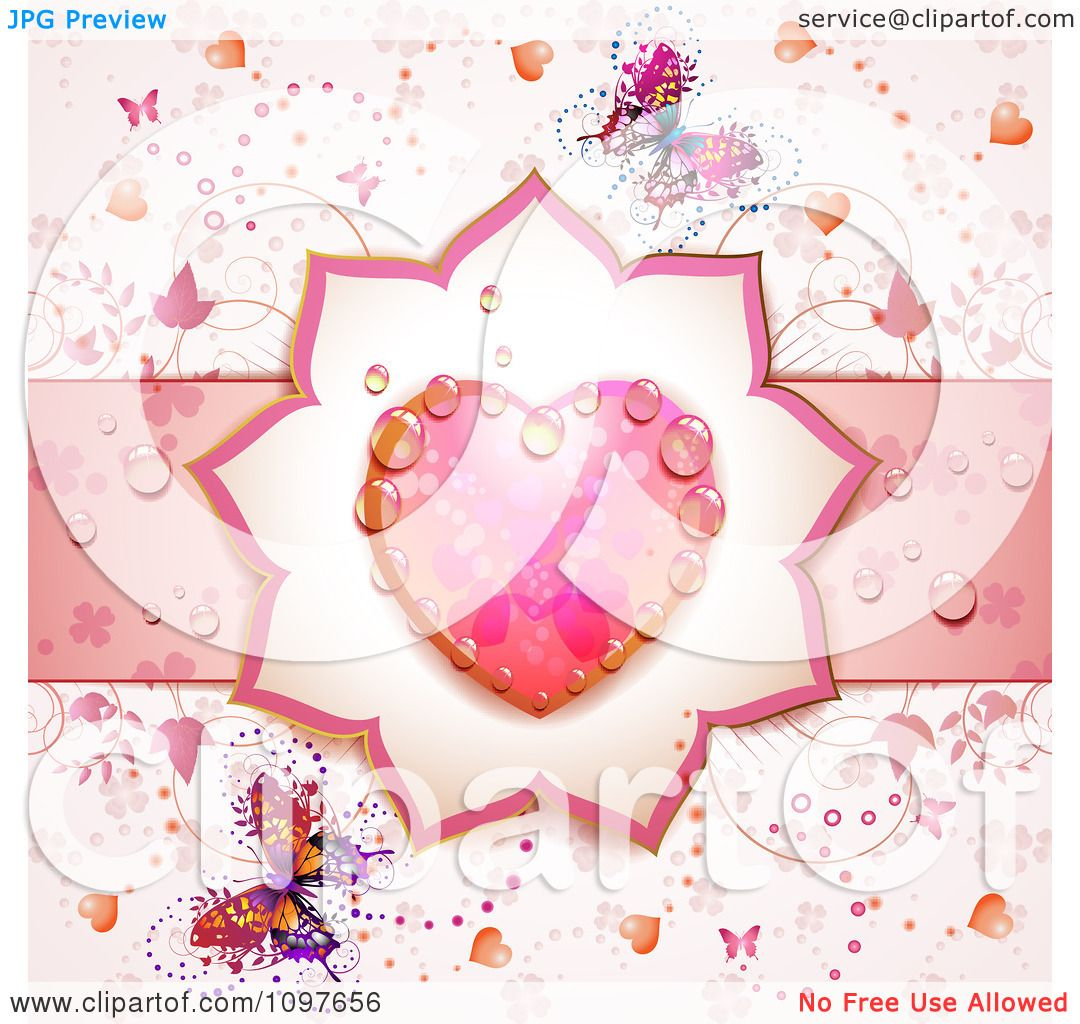 Clipart Wedding Or Valentines Day Background With A Dewy Pink ...