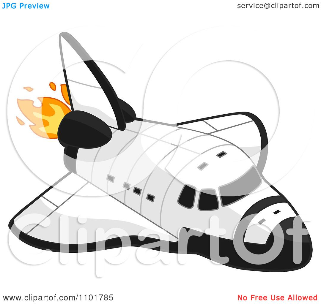 Clipart White Space Shuttle With Flames - Royalty Free ...