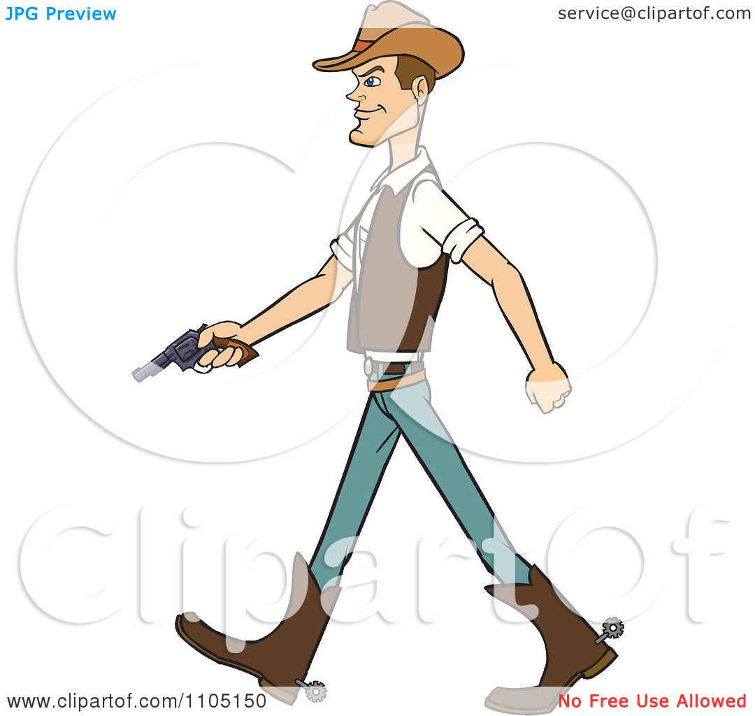 Clipart Wild West Cowboy Walking With A Revolver Royalty
