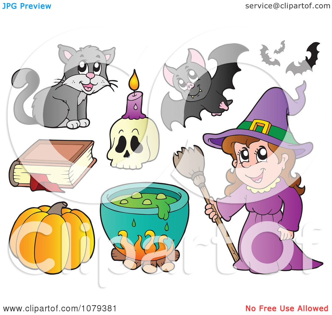 Clipart Witch With Halloween Items - Royalty Free Vector ...