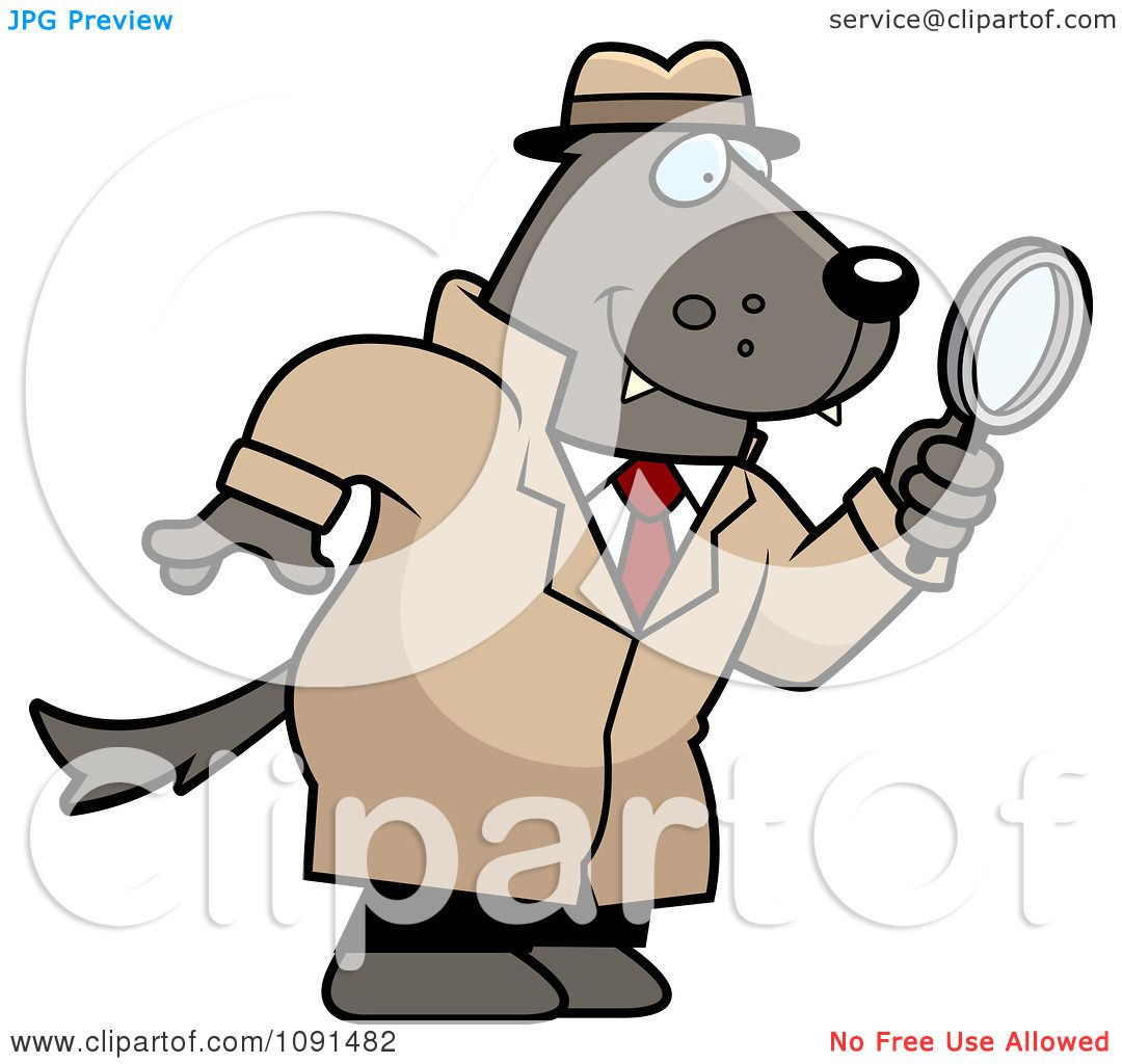 Clipart Wolf Detective Using A Magnifying Glass - Royalty ...