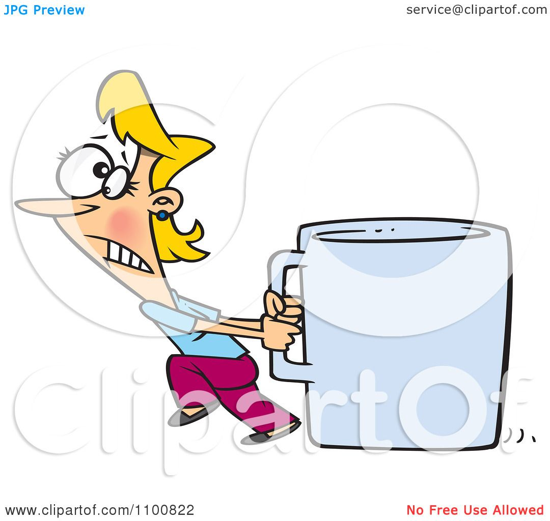 Larger preview vector clip art of a happy yellow coffee cup character - Clipart Woman Pulling A Huge Coffee Cup Royalty Free Vector Illustration Preview Clipart