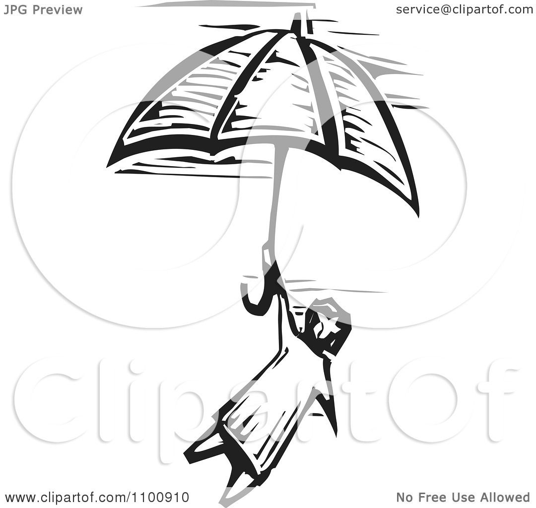 Clipart Woodcut Black And White Style Girl Flying With An Umbrella In ...