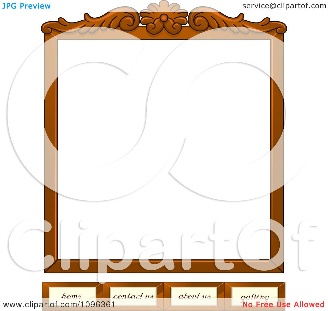 Home about service contact us photo gallery - Clipart Wooden Frame Website Template With Home Contact Us About Us And Gallery Tabs Royalty Free Vector Illustration By Bnp Design Studio