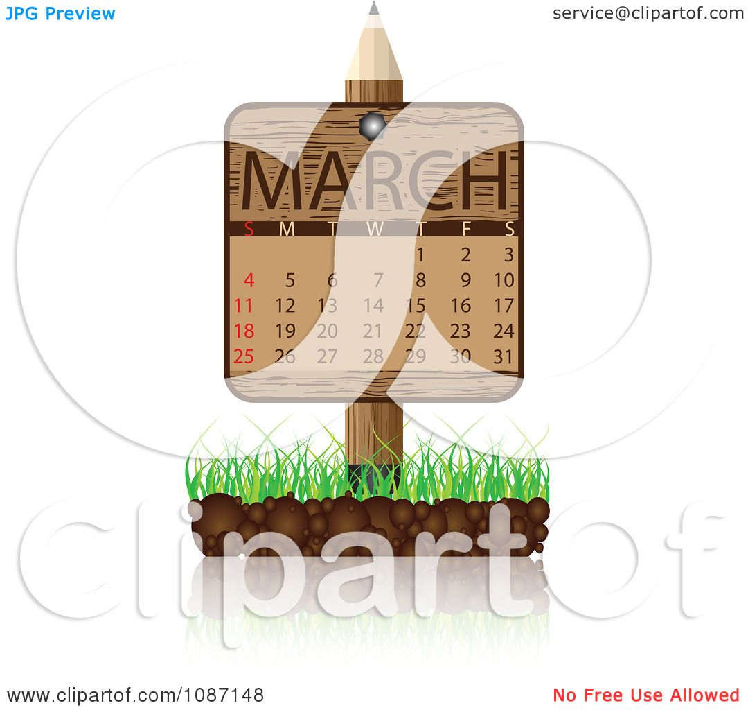 Clipart Wooden Pencil March Calendar Sign With Soil And Grass