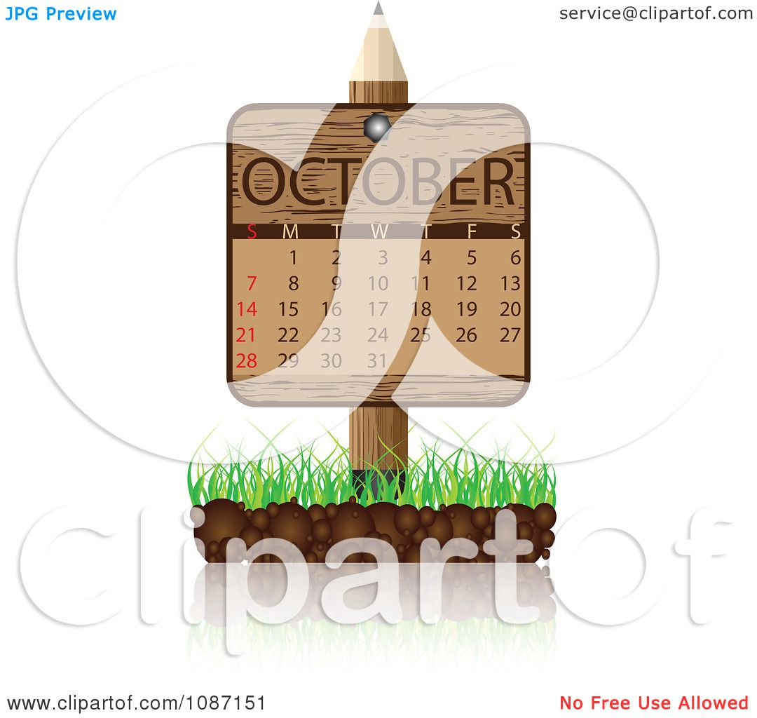 October Calendar Illustration : Clipart wooden pencil october calendar sign with soil and