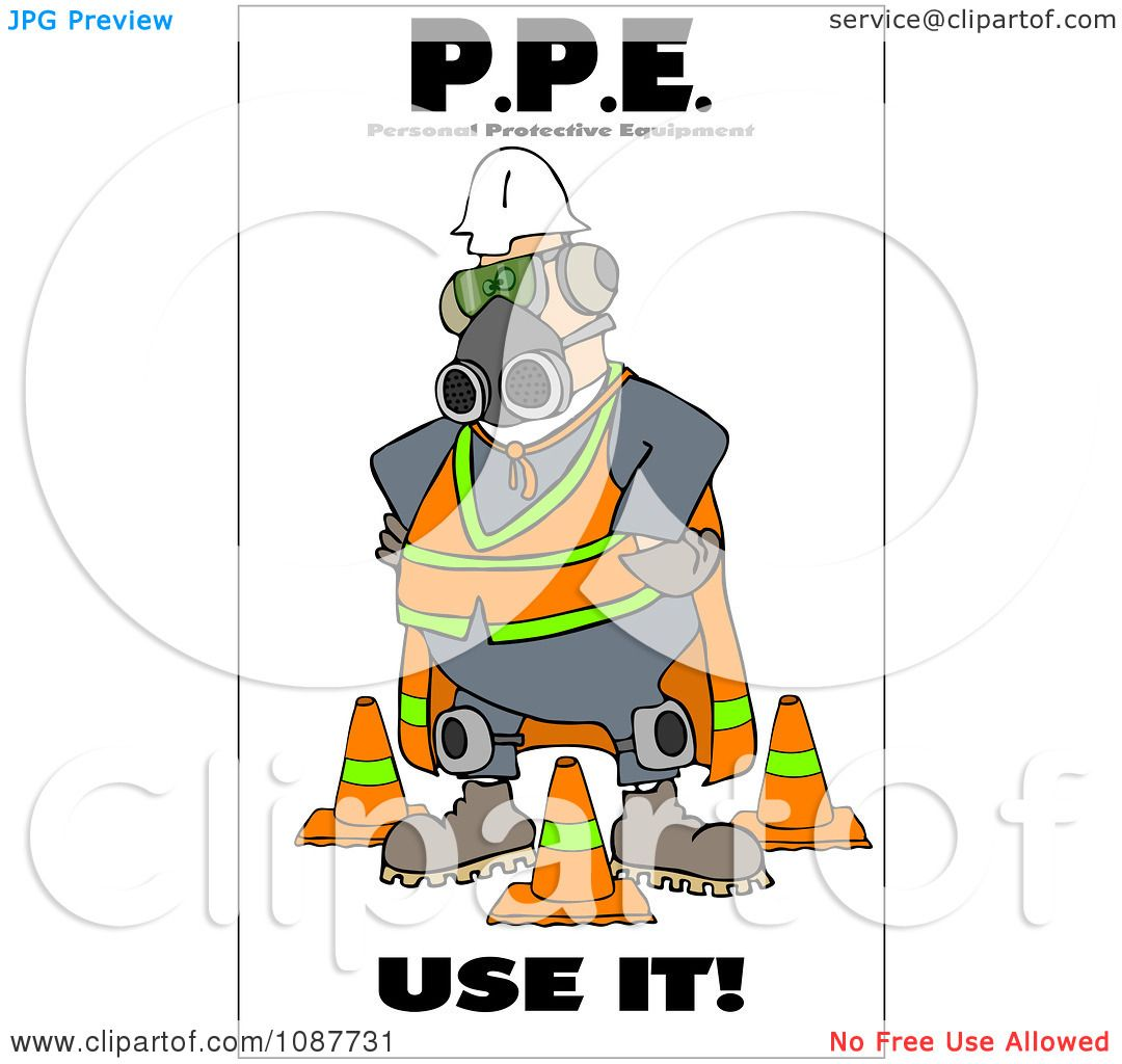 Clipart Worker Covered In Protective Gear With A Safety