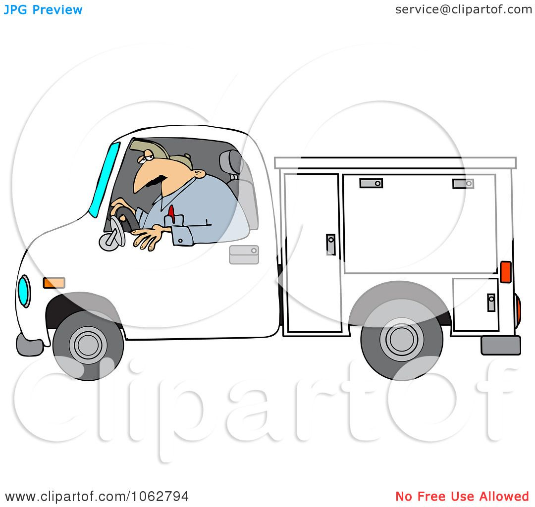 Clipart Worker Driving A Utility Truck Royalty Free