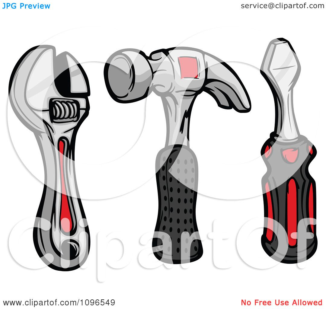 Clipart Wrench Hammer And Screwdriver Hand Tools - Royalty Free ...