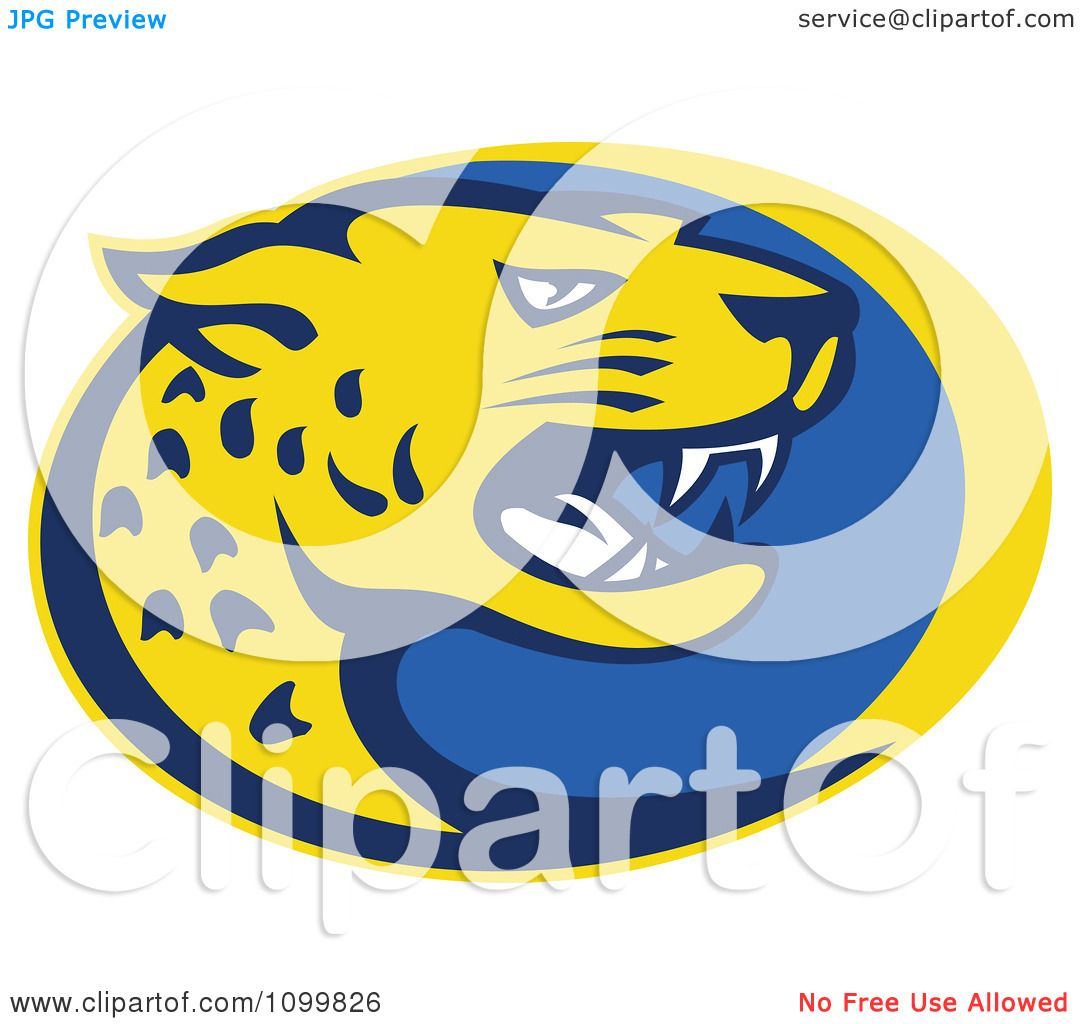 Jaguar Hissing: Clipart Yellow And Blue Hissing Jaguar Over An Oval