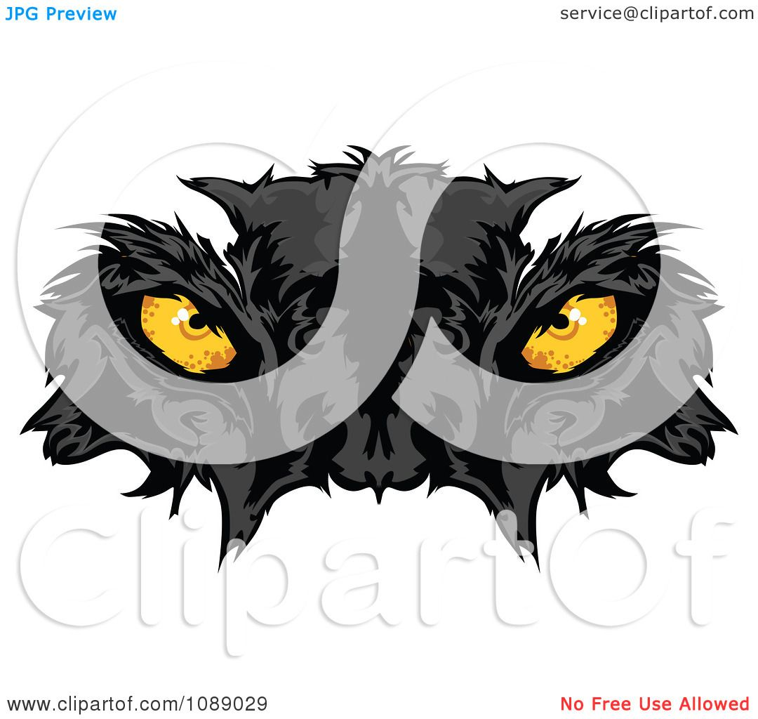 Clipart Yellow Black Panther Mascot Eyes - Royalty Free