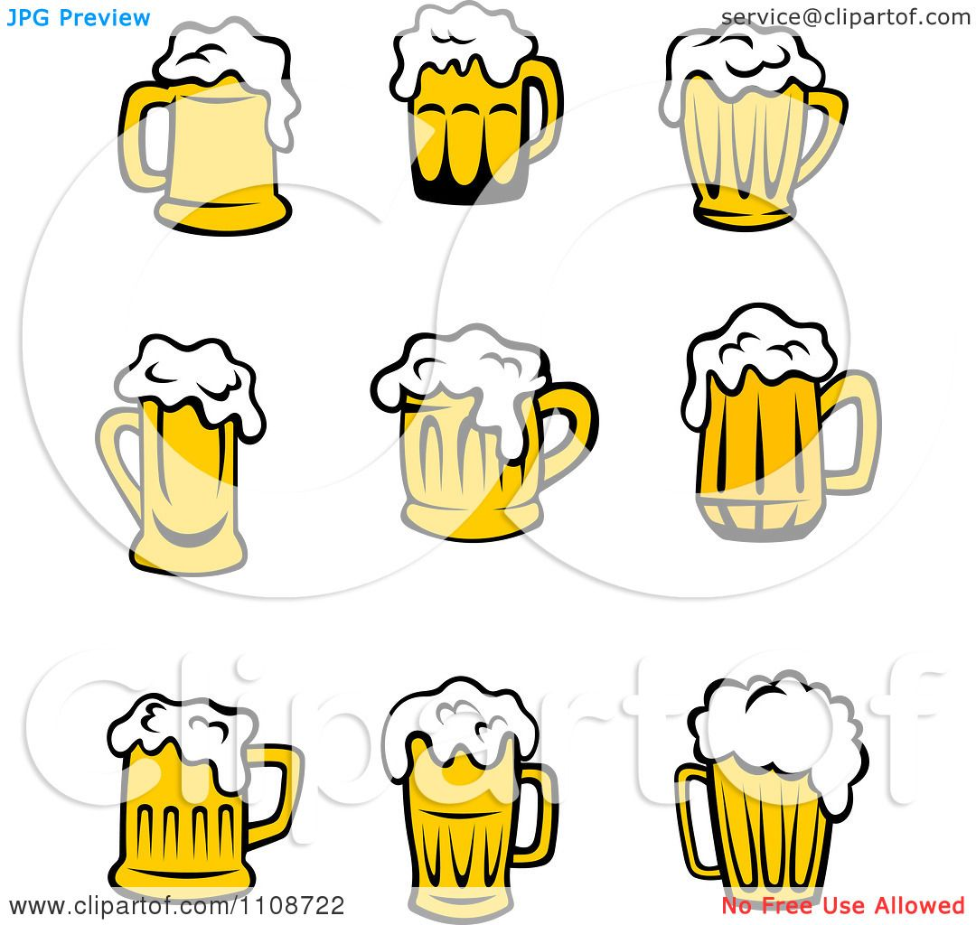 Clipart Yellow Frothy Beer Mugs 2 - Royalty Free Vector ...