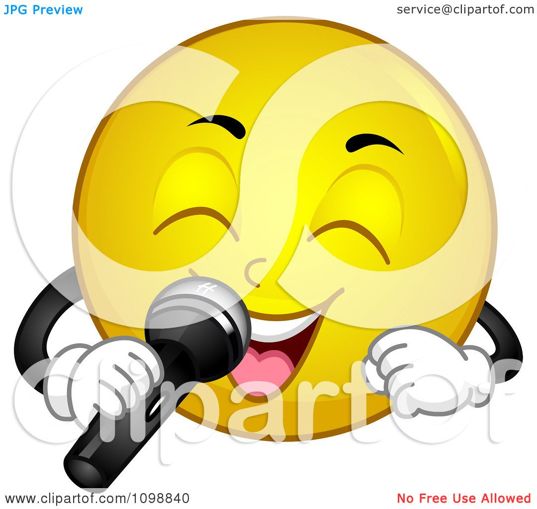 Clipart Yellow Smiley Emoticon Singing Into A Microphone