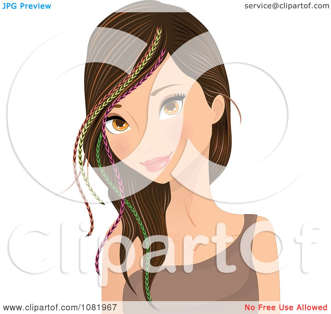 Clipart Young Woman Wearing Colorful Feather Hair Extensions ...