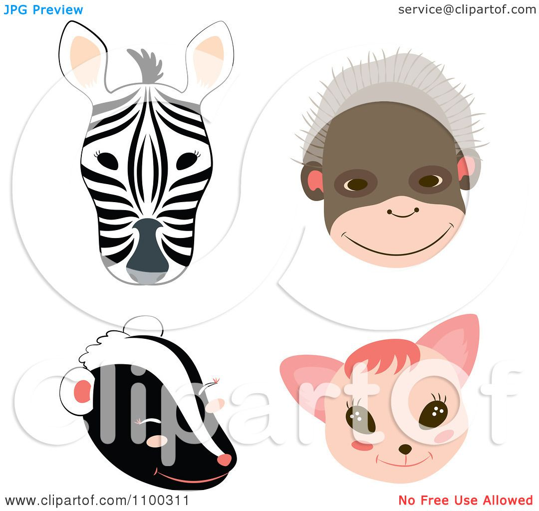 Clipart Zebra Monkey Skunk And Cat Faces Royalty Free