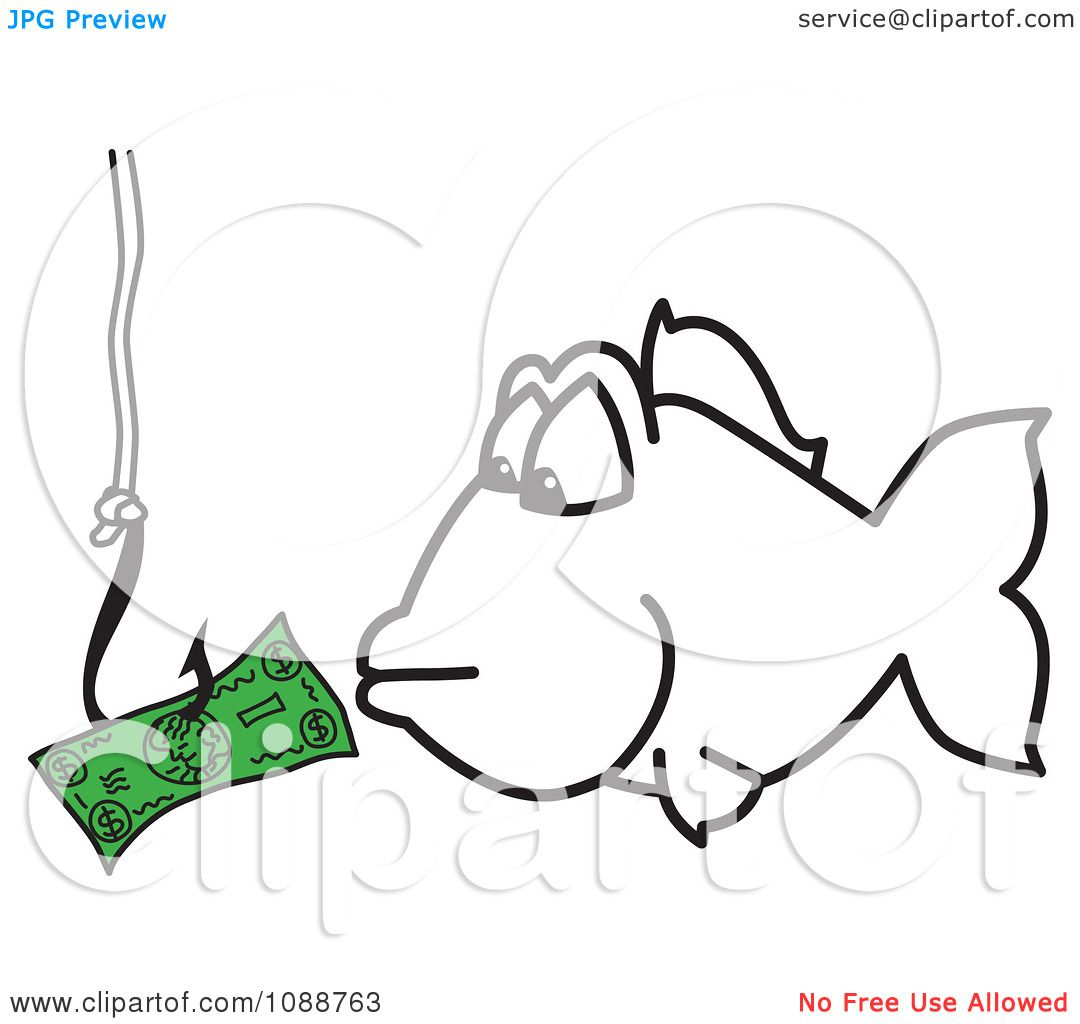 Clipartsquiggle hook fishing for money royalty free for Fish for cash