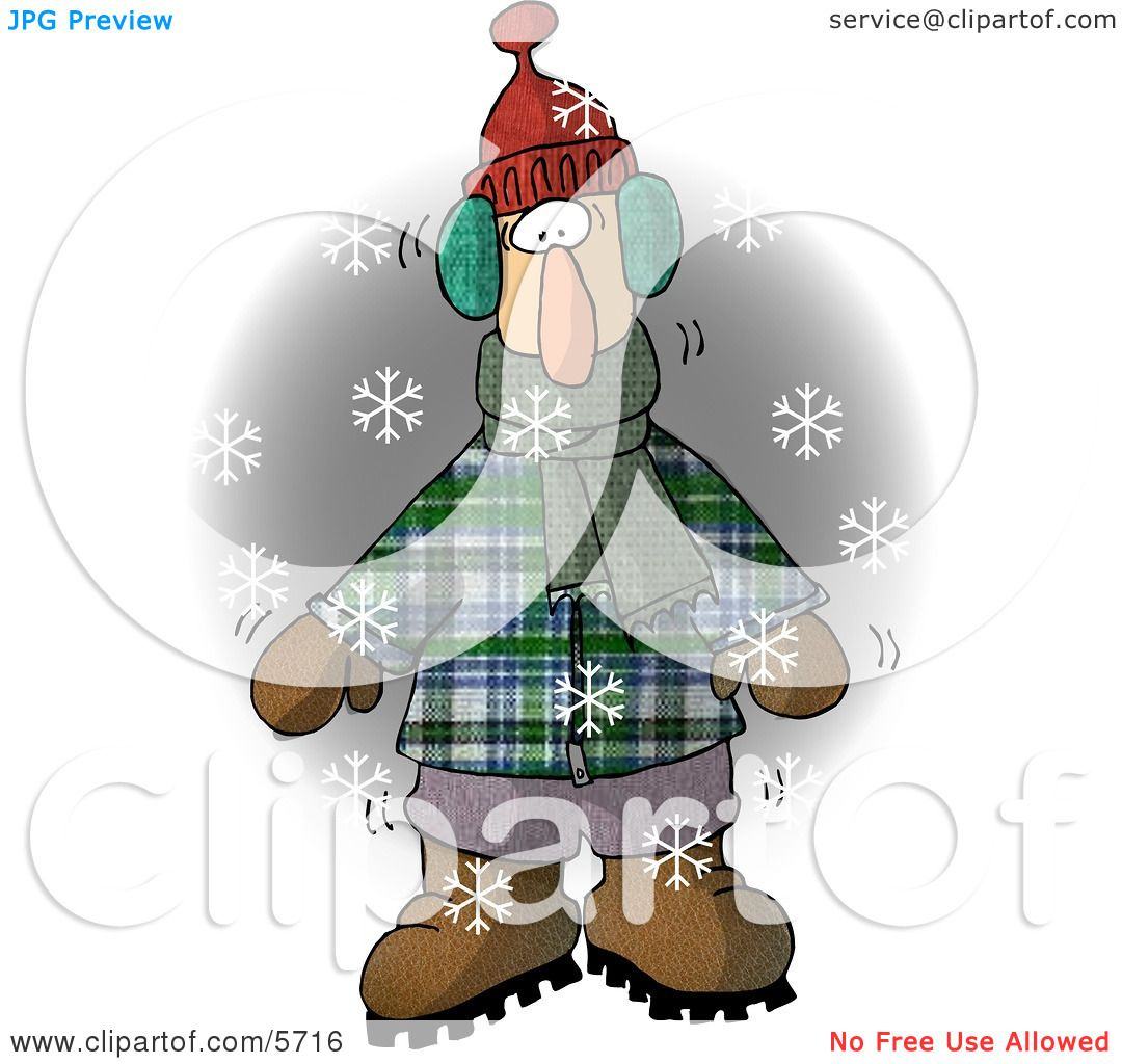 Cold Man Standing Outside While It S Snowing Clipart