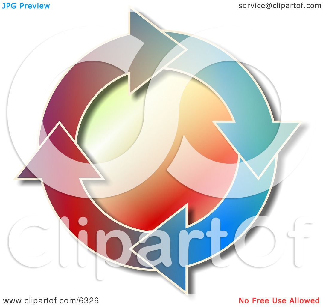 Colorful Recycle Arrows Moving in a Circular Clockwise ...