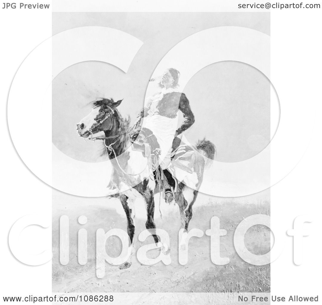 Comanche Indian On An American Paint Horse