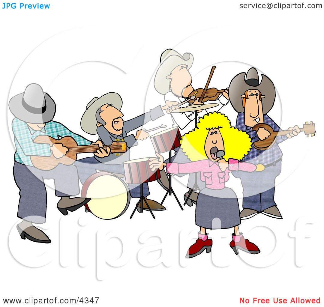Country Western Band Playing Country Music Clipart by ...