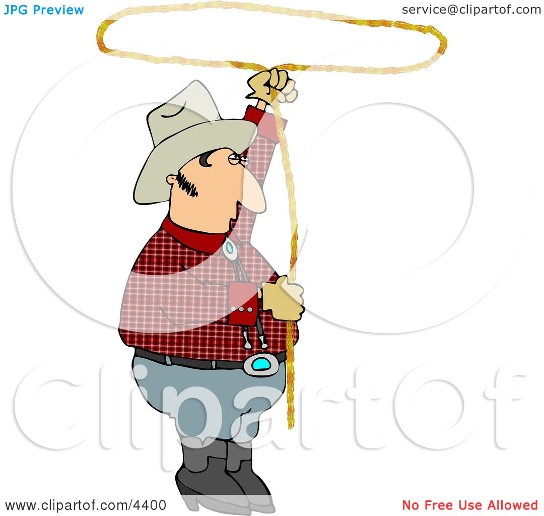 Cowboy Practicing with a Lariat Rope Clipart by djart #4400