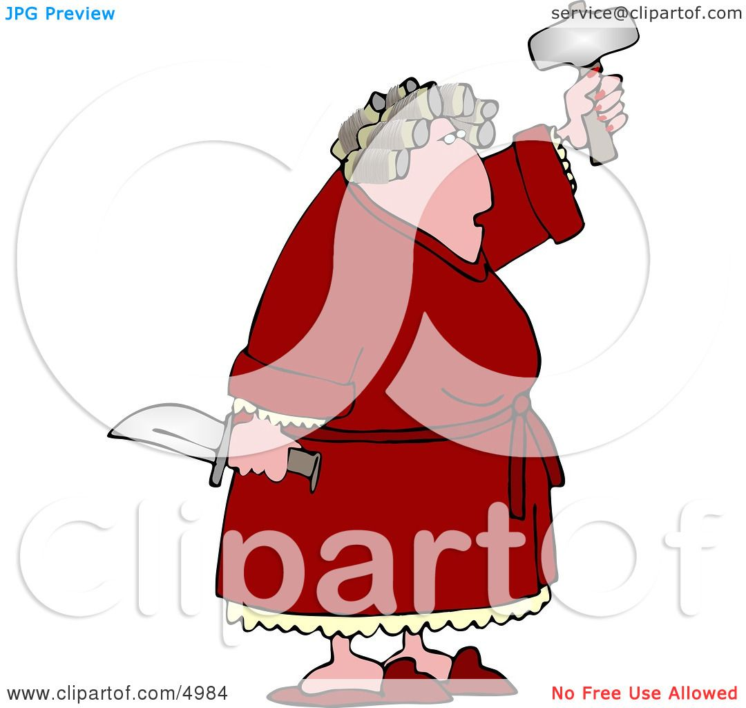 Crazy Woman with PMS Holding a Knife and Hatchet Clipart by Dennis ...