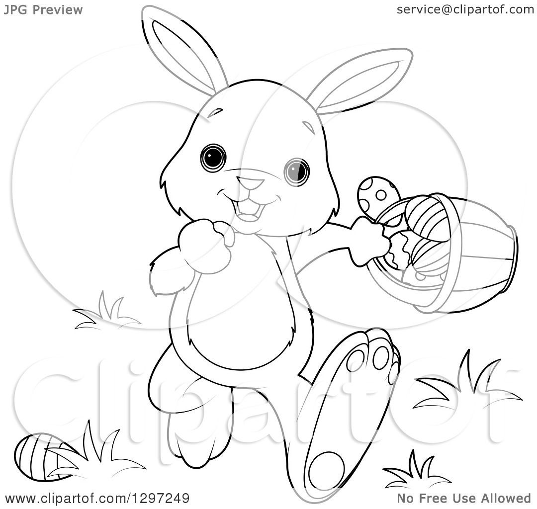 Cute Animal Clipart Of An Adorable Black And White Bunny Rabbit Walking With Easter Basket