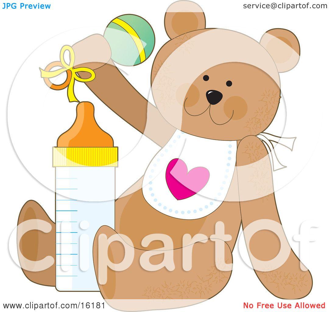 Cute Brown Teddy Bear Wearing A White Bib With A Heart
