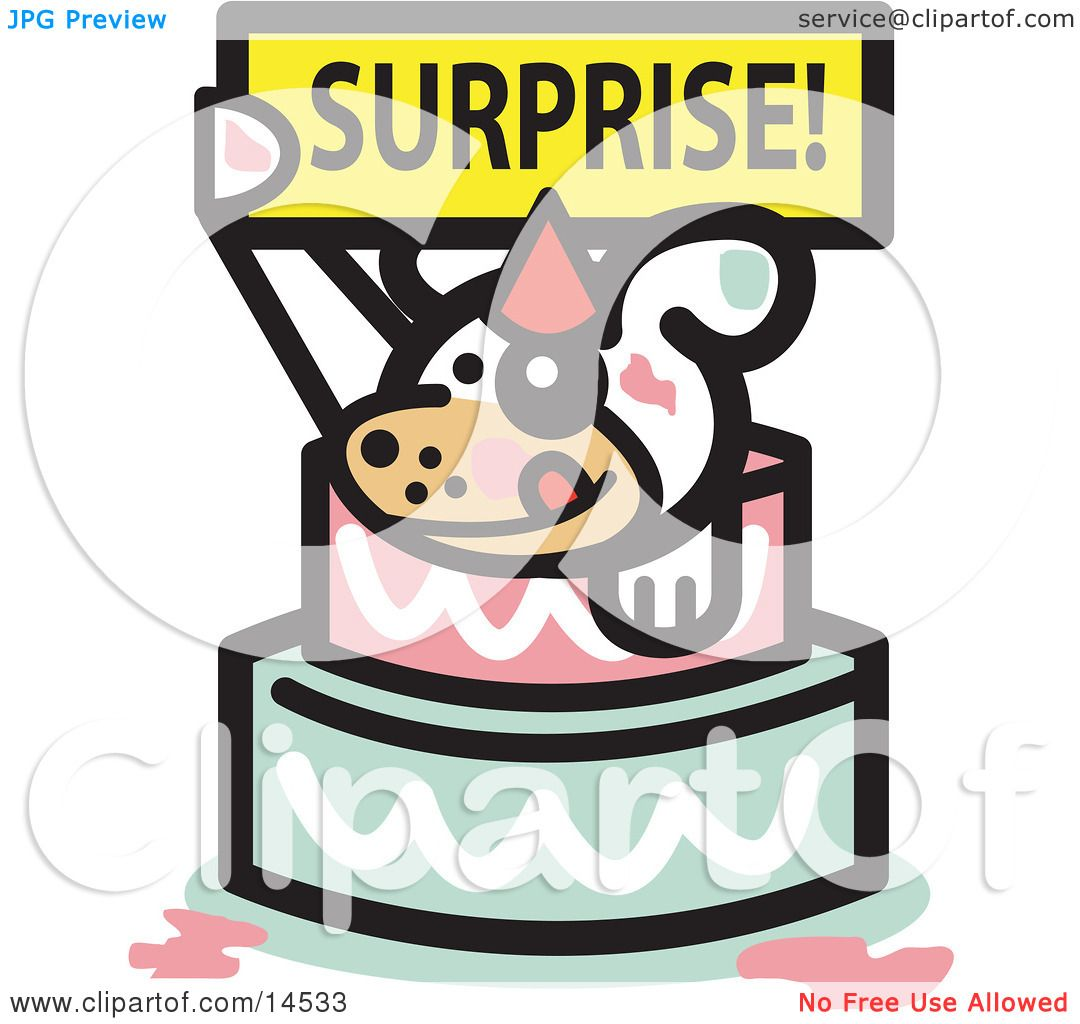 Dog Birthday Cake Clip Art : Cute Dog Holding A Surprise Sign And Popping Out Of A ...