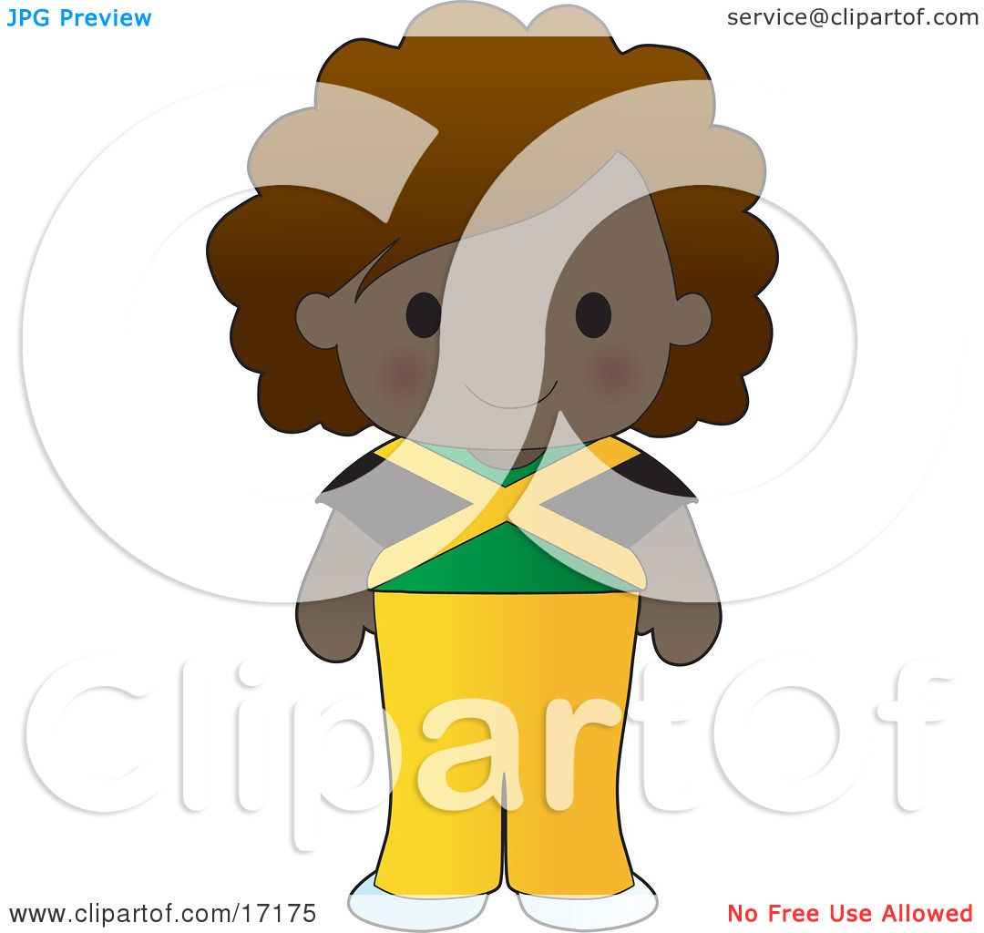 Cute Jamaican Girl Wearing A Flag Of Jamaica Shirt Clipart ...