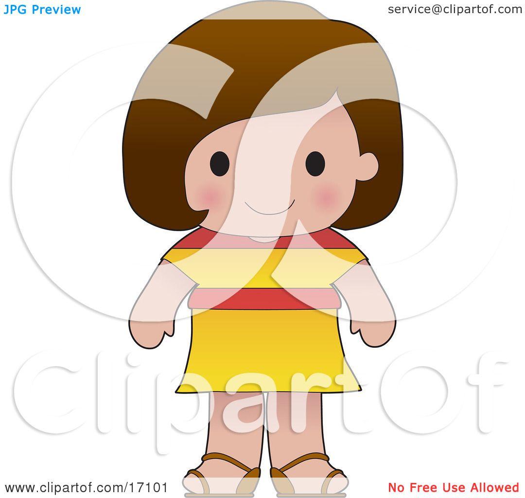 cute spanish wearing a flag of spain shirt clipart